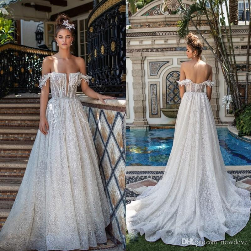 4e11e30d9f6 Discount Berta With Feather Wedding Dress Bateau Neck Cascading Ruffles  Vestido De Novia Illusion Bodice Bridal Gowns A Line Lace Appliques  Bohemian Wedding ...