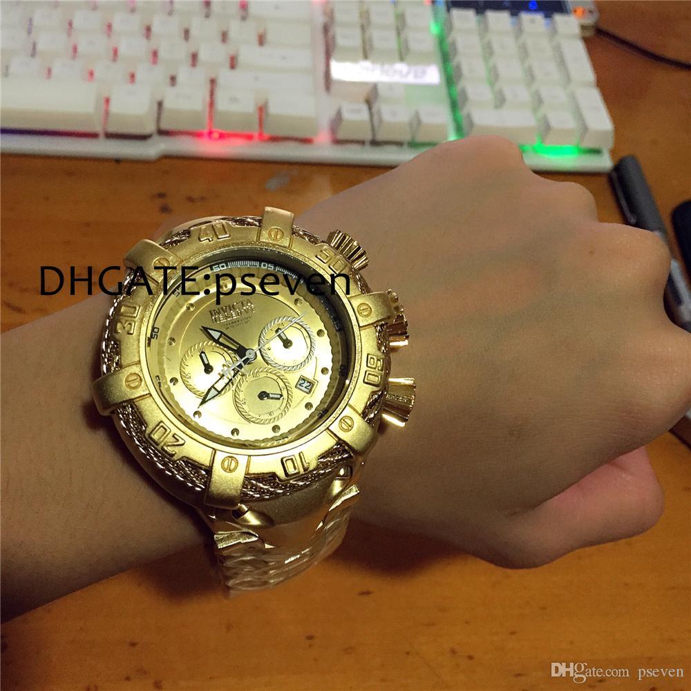 63a77b7d22d Compre Genuine Invicta Homens Cerâmica Todos Os Homens Relógio De Ouro  Relógio De Pulso De Quartzo Pulseira De Aço Inoxidável Relógio Masculino  Relógio De ...