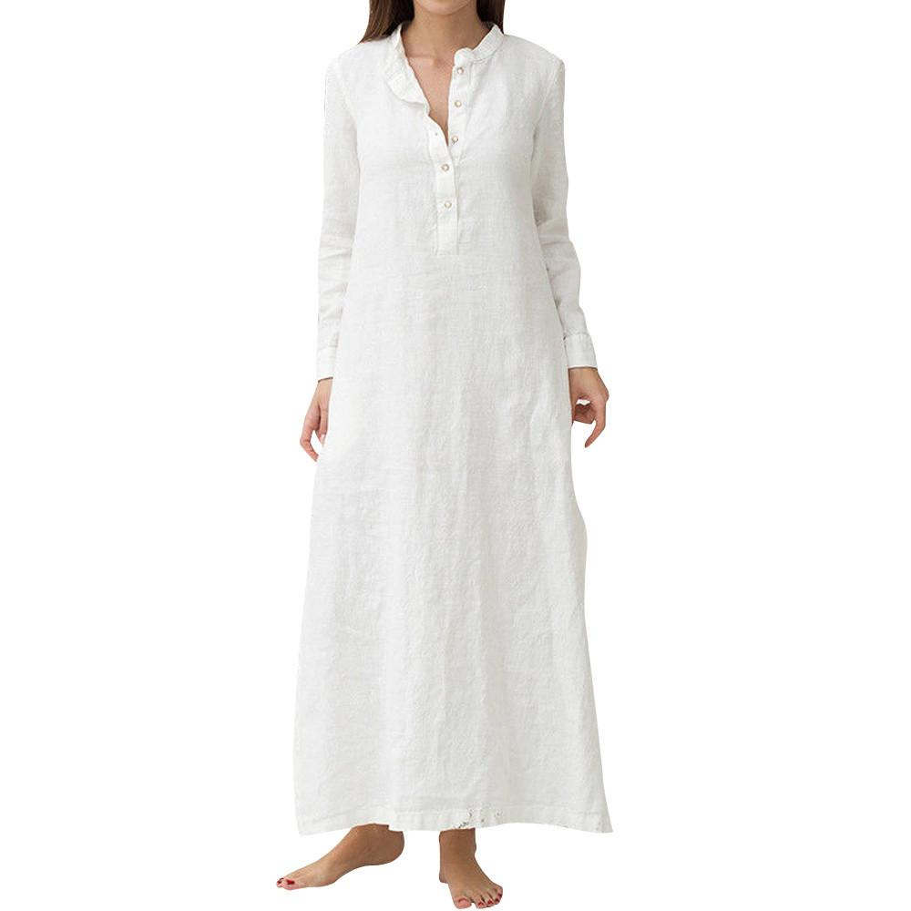 63d6f2e31059 Moda Mujer 2019 Women S Kaftan Long Sleeve Plain Solid Cotton Dress Casaul  Ladies Oversized Maxi Long Shirt Dresses Vestidos Teenagers Party Dresses  Green ...