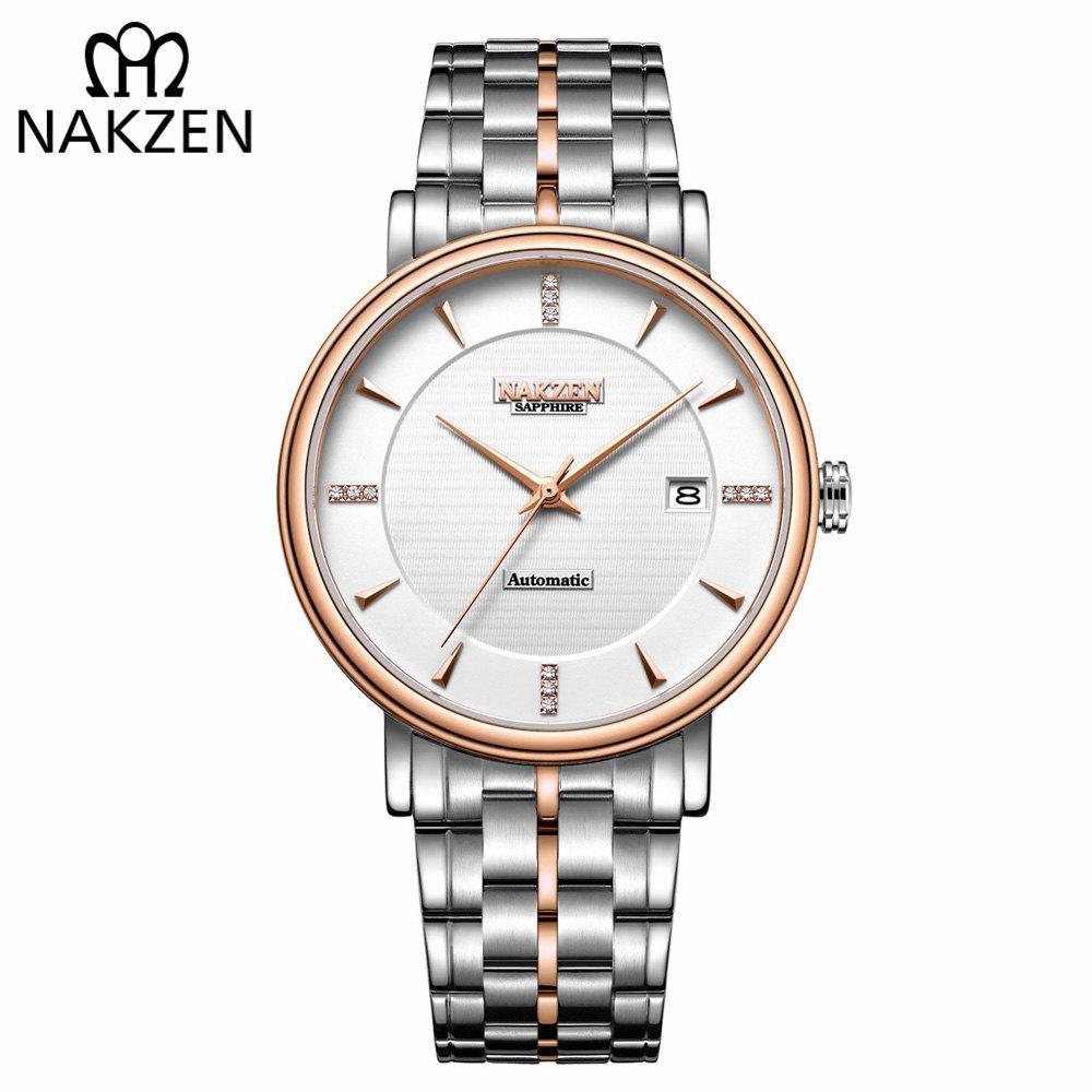 3a928375180 Compre NAKZEN Homens Relógio De Pulso De Negócios Da Marca De Luxo Diamante  Relógio Mecânico Automático Masculino Relógios Relógio Relogio Masculino  Miyota ...