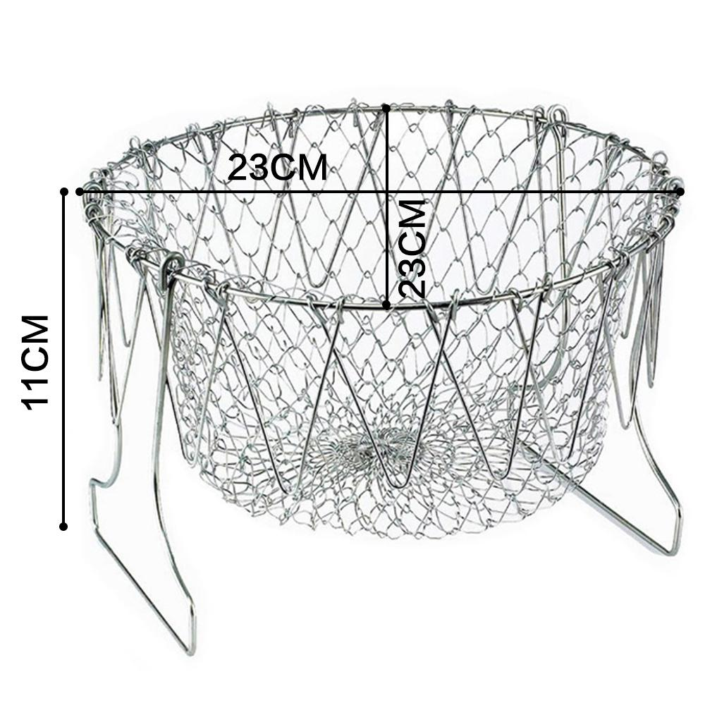 Factory Price Stainless Steel Expandable Foldable Fry Chef Basket Kitchen Colander Magic Mesh Basket Strainer Net Cooking Steam Rinse Strain