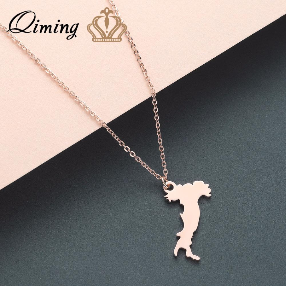 QIMING Italy Map Pendant Necklace Vintage Europe Trip Italian Charm ... 0101499d4d35