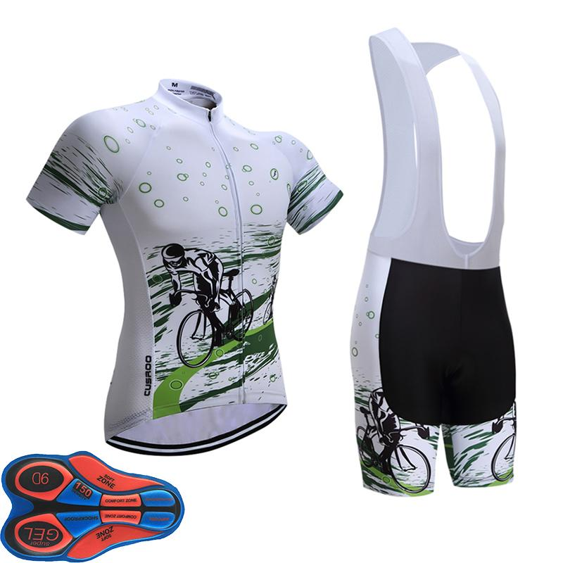 2018 White Frame Cycling Team Jersey 9D Gel Pad Bike Shorts Set MTB ... c2c975e63