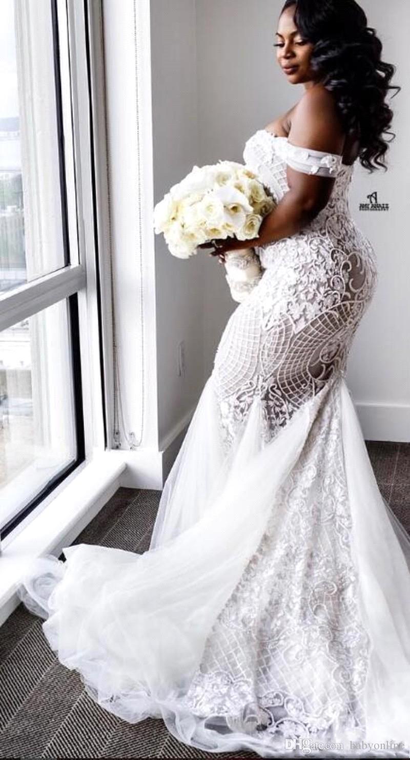 Modest Plus Size Vestidos De Noiva Sereia Fora Do Ombro Querida Trompete Vestidos de Noiva Sweep Trem Tulle Lace Appliqued Vestido de Noiva BA4945