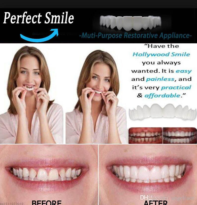 Snap On Smile Silicone Simulation Teeth Braces Denture Comfort Fit Teeth  Top Cosmetic Veneer One Size Fits All with box gift