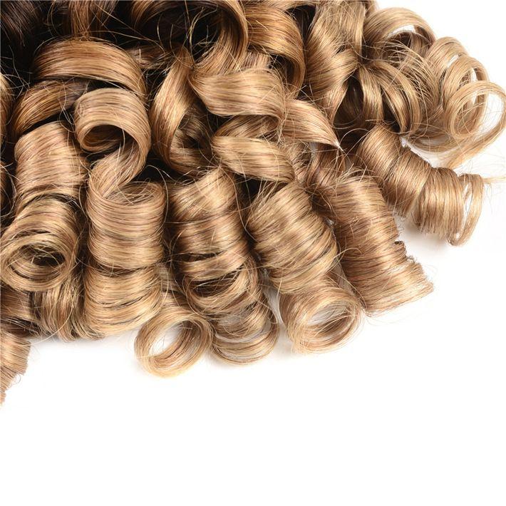 Dark Root Blonde Fumi Hair Extensions Raw Indian Virgin Human Hair 3 Bundles Colored 1B 4 27 Aunty Funmi Romance Curls Ombre Weave