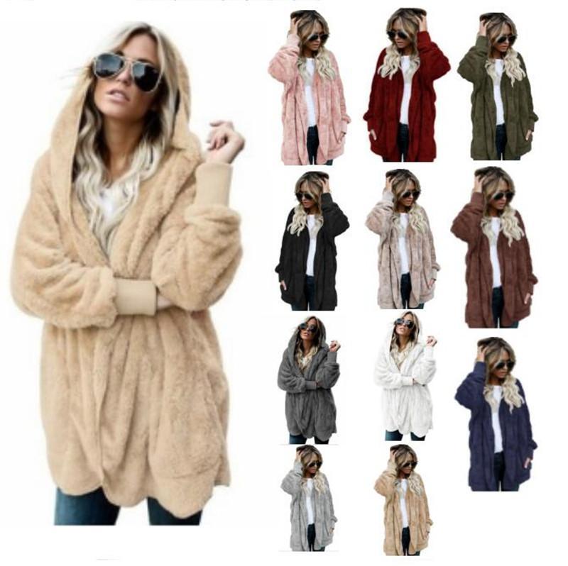b69d6ab309c 2019 Plus Size Women Sherpa Overcoat Reversible Faux Fur Coat Winter Warm  Sweatshirt Double Sided Coats Hoodies Winter Warm Outwear Long Jacket From  ...