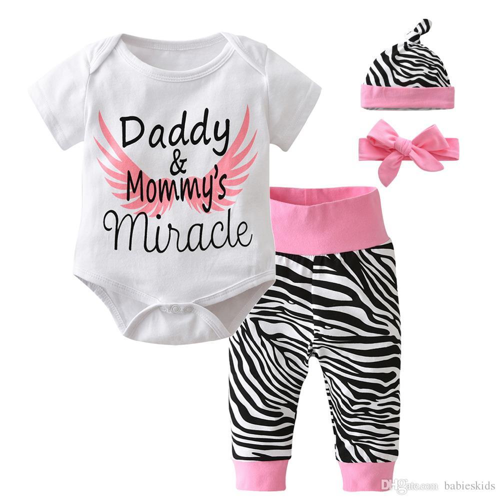 Moda Bebê Recém-nascido Meninas Roupas de Manga Curta Branco Romper Bodysuit Tops Zebra Calças Headband Cap Criança de Verão Outfit Set