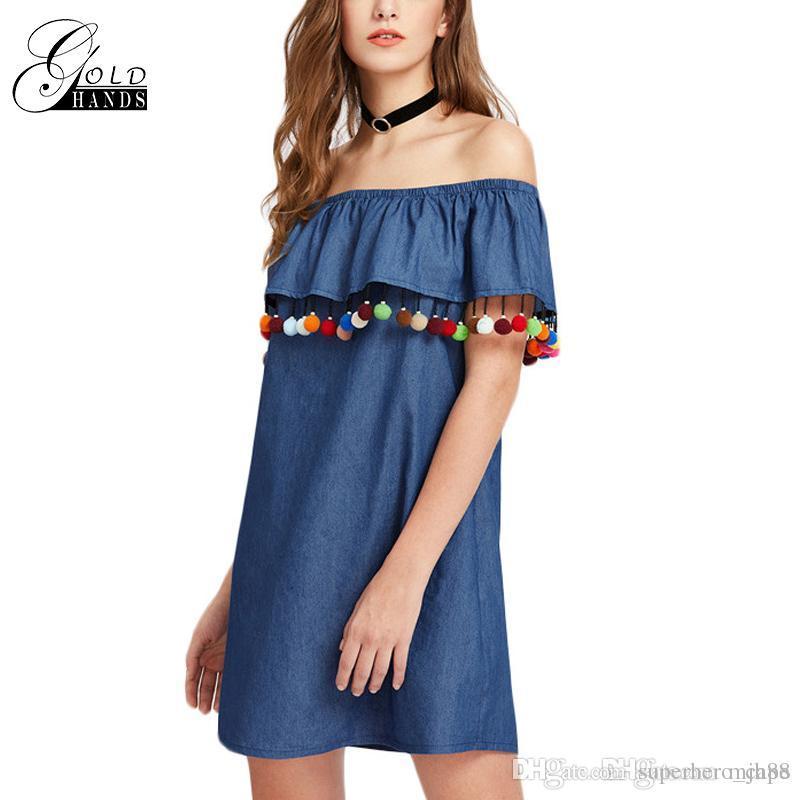 fc59f38518f2 Women Summer Short Sleeve Boho Dress Tassel Trim Flounce Bardot Dress Denim  Blue Off The Shoulder Female Fashion Shift Dress Plus Size Formal Dress  Blue ...