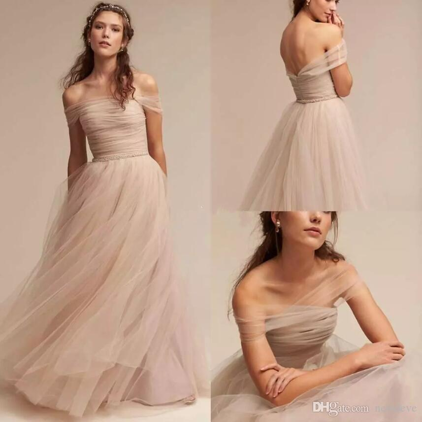 ae5a8f75c0bb Discount BHLDN 2018 Nude Wedding Dresses Off The Shoulder Delicate Sash Bridal  Gowns Floor Length A Line Backless Wedding Gown Vintage Inspired Dresses ...