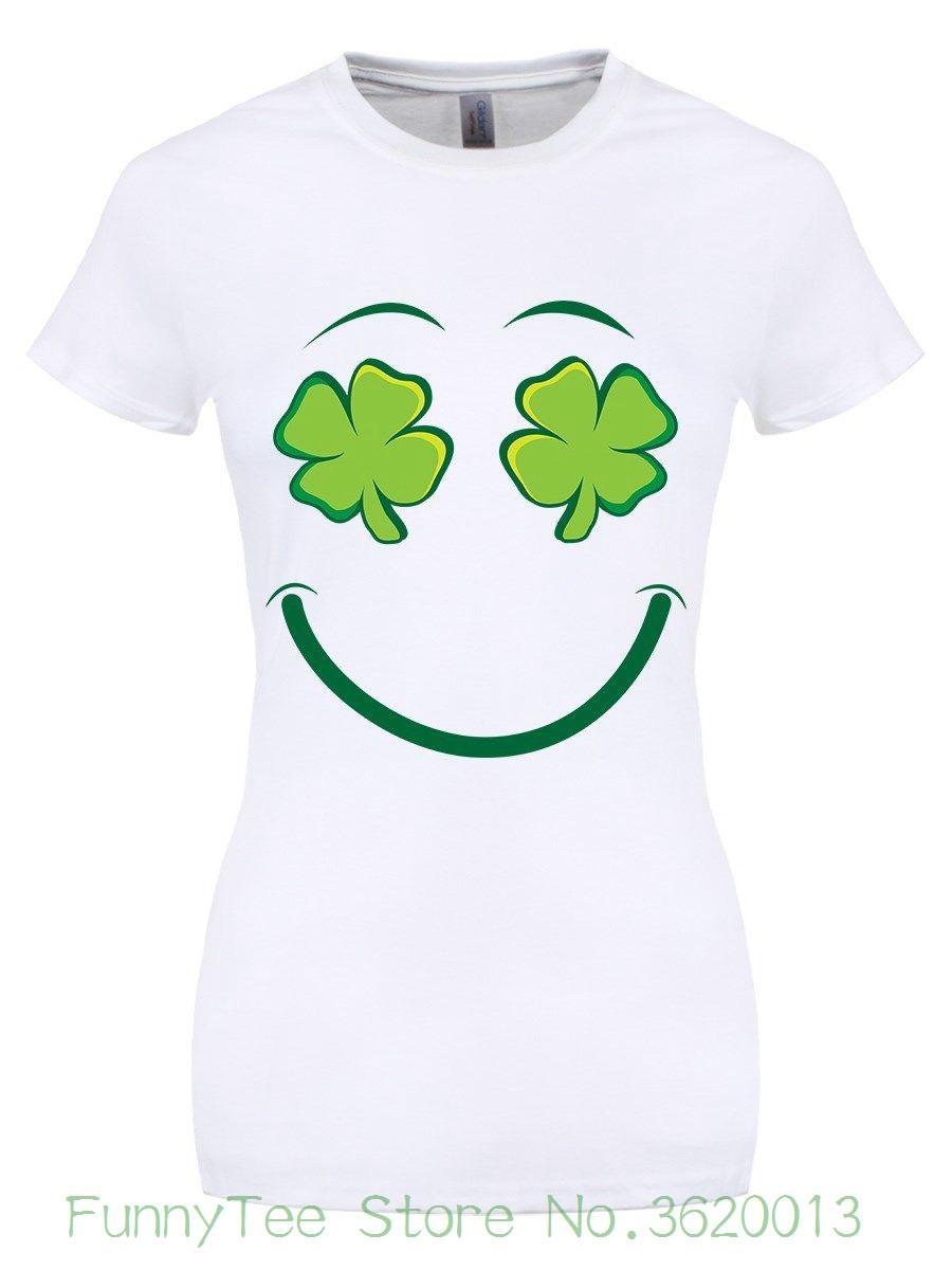 09353cd58 Women's Tee Luck Of The Irish St.patrick's Day Ladies White T-shirt Short  Sleeve Women T-shirt