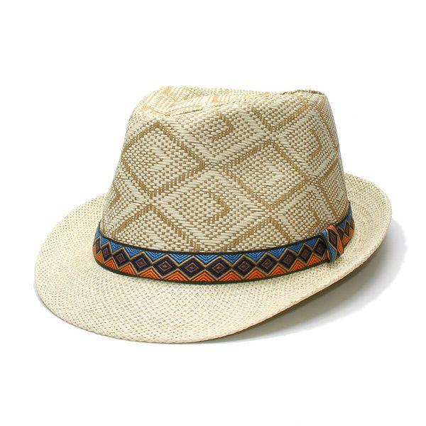 6b1480b8890 2019 Summer Women'S Men'S Unisex'S Vintage Sun Straw Beach Fedora Jazz Hat  Ganster Cap Lattice Retro Cloth Band One Size 58cm From Kangaroo_, ...