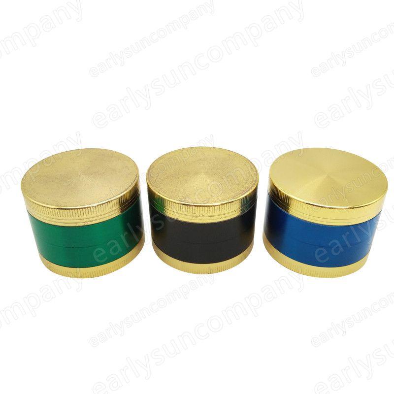 4 parts Gold Lid Top Fashion Metal Grinder 50mm 4 parts Zinc Alloy Herb Herbal Tobacco Spice Pollen Grinder Hookah Pipe Love Smoking
