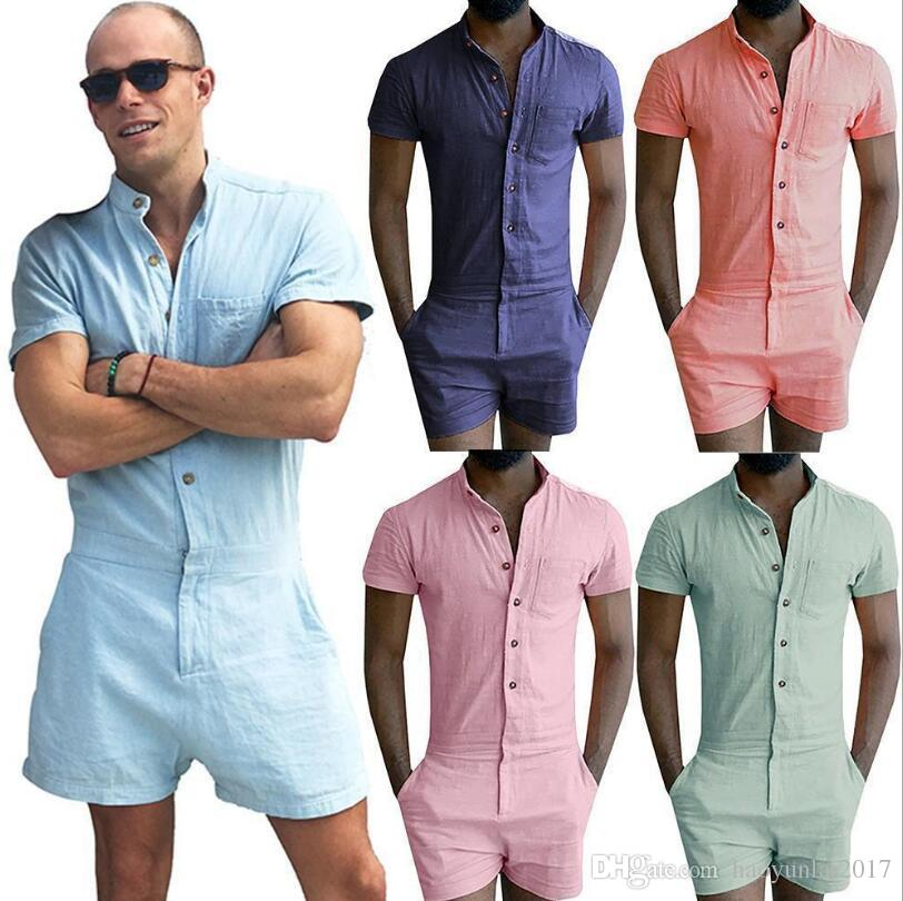 c66abe13b41d 2019 Summer Fashion Short Sleeve Mens Rompers Male Single Breasted Jumpsuit  Cargo Short Pants Boyfriend Zip Trousers Party Overalls From Haoyunlai2017
