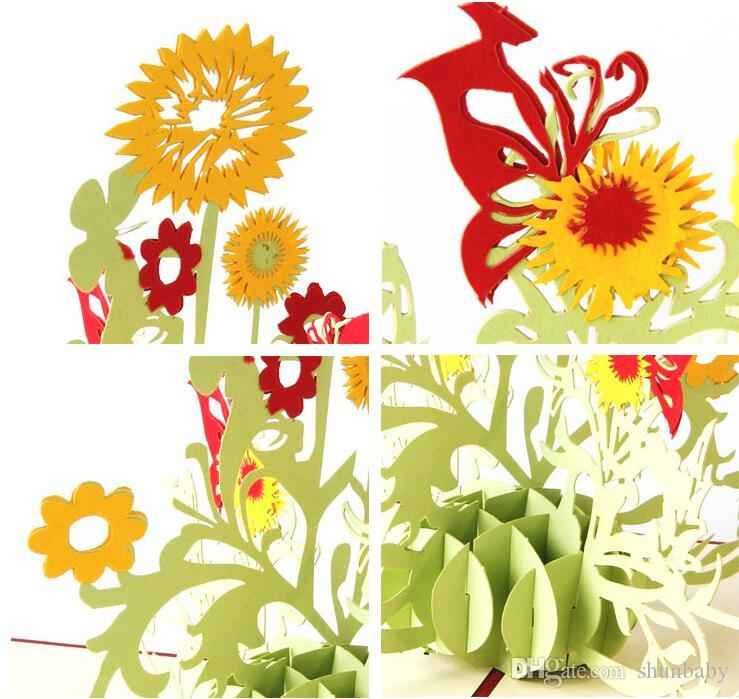 3D Sunflower Design Greeting Card Pop Up flower Birthday Greeting Card Mother's Day Thank You Greeting Postcard Card