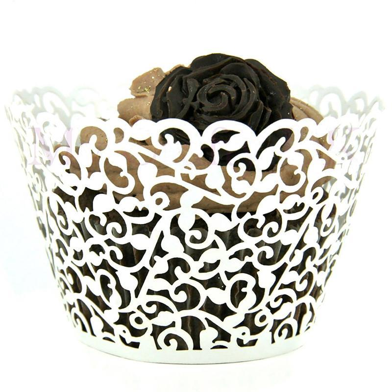 /pack Paper Hollow Lace Floral Cupcake Muffin Wrapper Wrap Case Wedding Party Liner Decor