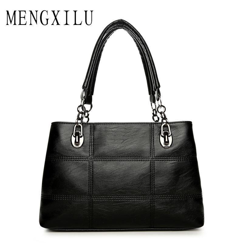 b4de56e4b0 Big Women Bags Handbags Women Famous Designer Plaid Women Leather Handbags  2017 Luxury Ladies Hand Bags Shoulder Fashion Sac Y1892110 Cheap Purses  Handbags ...