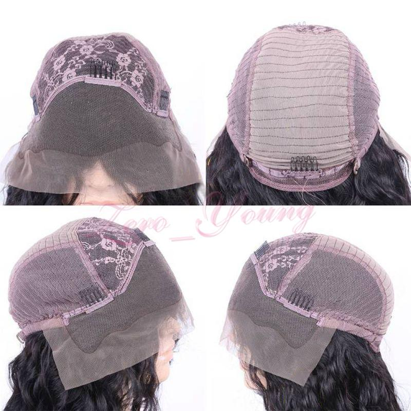 Parrucche piene lunghe ondulate del pizzo dei capelli umani di densità di 150% le donne nere Fronte brasiliano ondulato del pizzo dei capelli brasiliani con i capelli del bambino