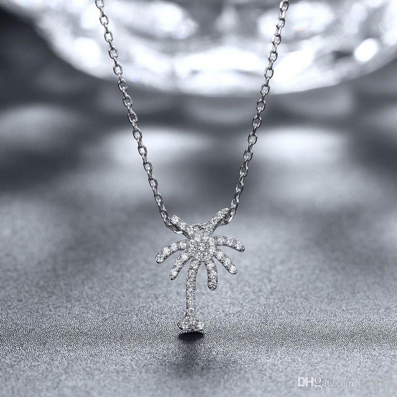 Sterling Silver 925 Necklace Lady Party Jewelry Pure Silver Tree Pendant Necklace With Zircon n076