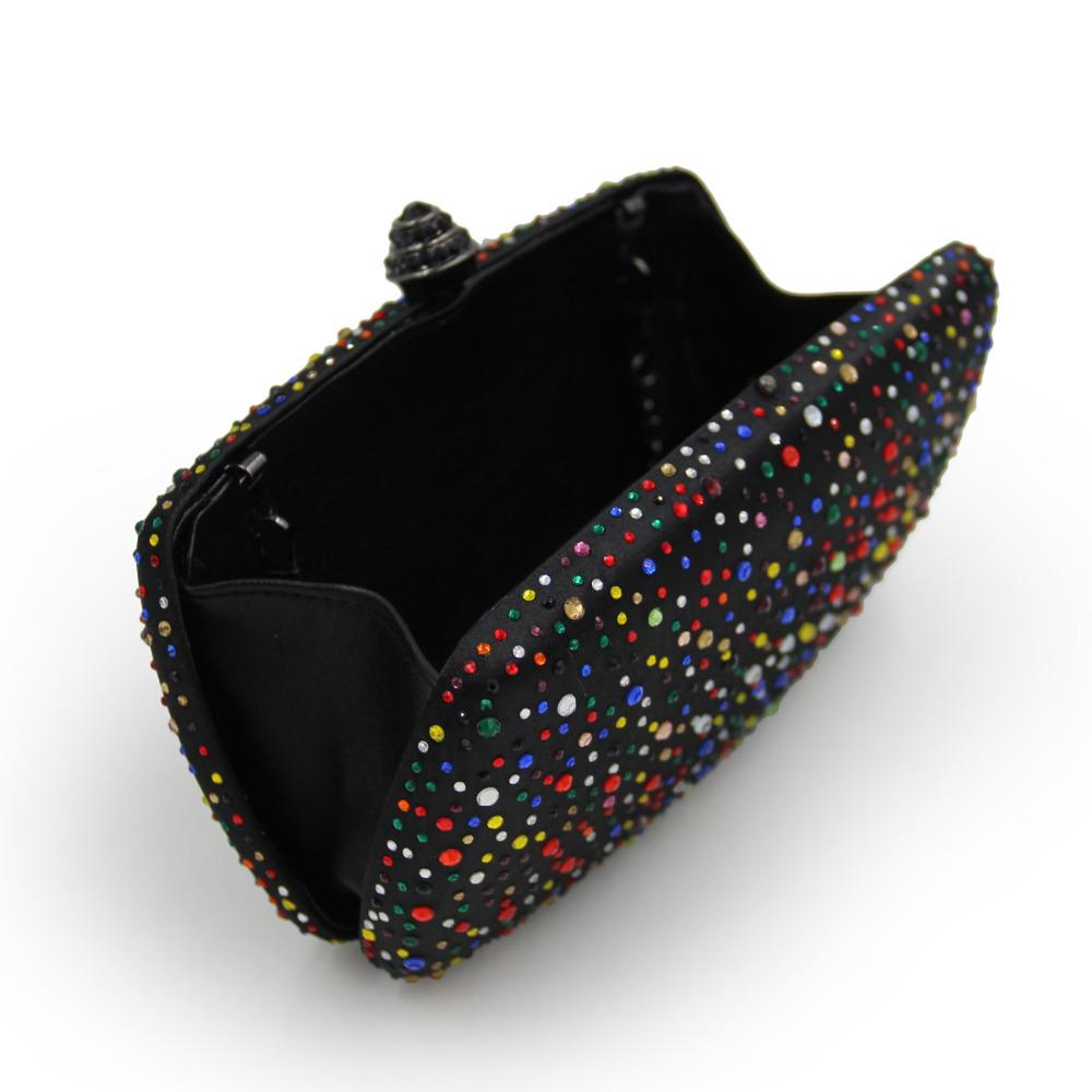Moccen Cheaper Crystal Clutch Bag Black Multicolor Chain Evening Bags Diamonds Party Purses Wallet Women Dinner Handbags