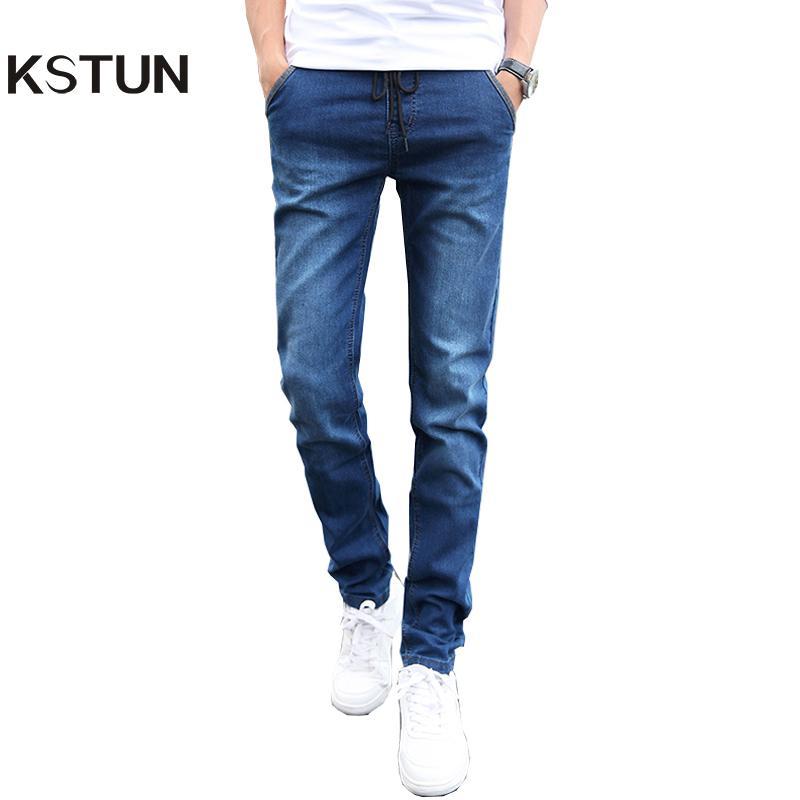 722407032 vente en gros jeans skinny hommes cordon slim fit denim joggers stretch  homme jean crayon pantalon bleu hommes de jeans mode casual hombre