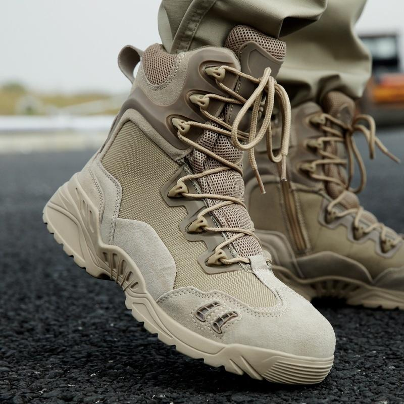 Men Military Tactical Boots Side Zipper Outdoor Hiking Shoes Waterproof Army Trail Camping Climbing Hunting Desert Mens Boots Modeschmuck