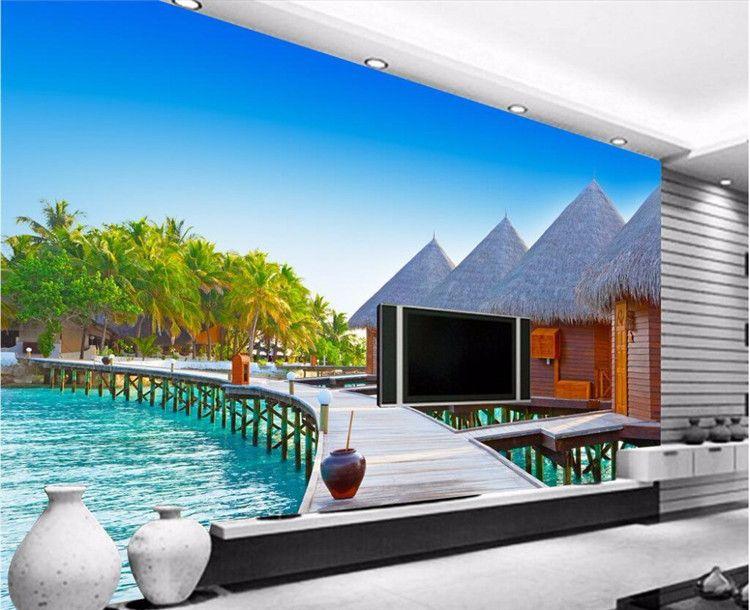 Papier peint 3d mural décor photo photo toile de fond photographie 3D stéréo en bois plage huttes salon hôtel café mur peinture murale