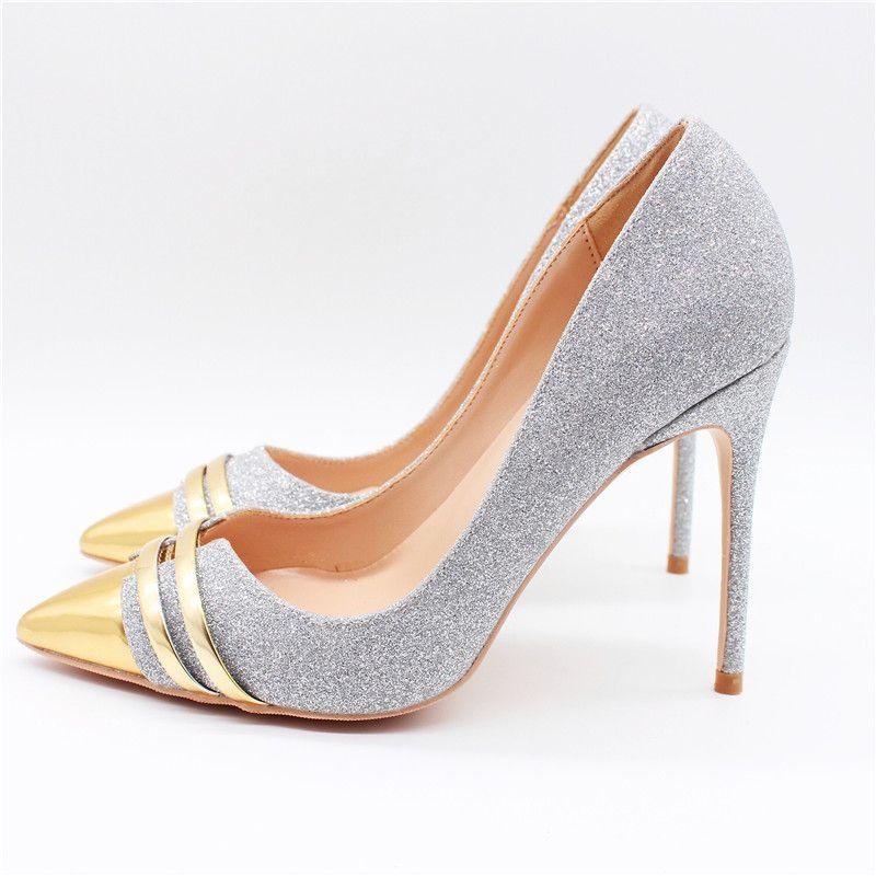 Fashion Women Pumps Lady Silver Glitter Pointy Toe High Heels Shoes Size33  43 12cm 10cm 8cm Bride Stiletto Heeled Munro Shoes Vegan Shoes From  Zehanshoes c8a229124e5e