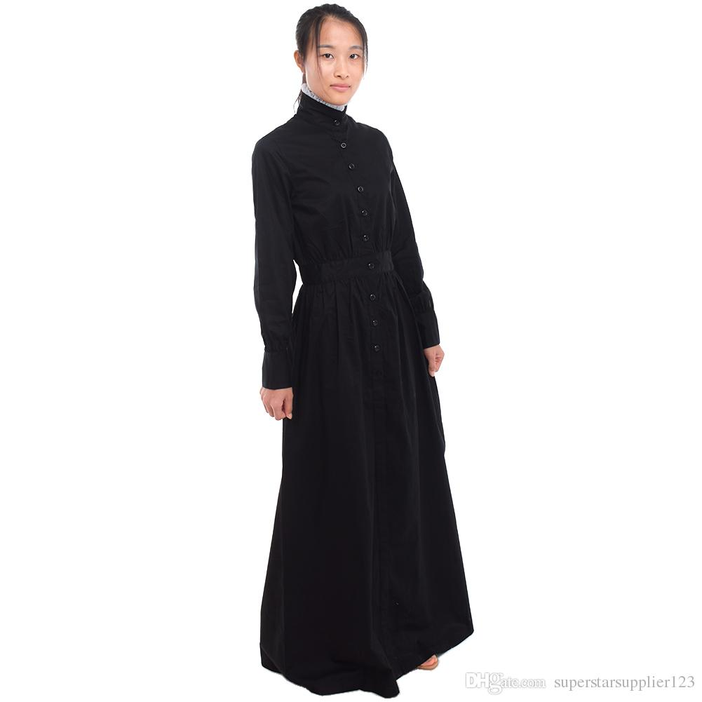 8b0d286a640 British Vintage Servant Black Walking Dress White Maid Apron Costume  Victorian Edwardian Housekeeper Cosplay Fast Shipment Costumes For Groups  Of 5 ...