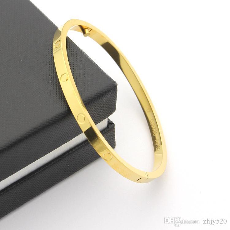 أزياء الساخن نموذج الفولاذ المقاوم للصدأ فضة الحب مفك سوار 5MM التيتانيوم سوار 18K مطلية بالذهب أساور أساور ل WomenFashion