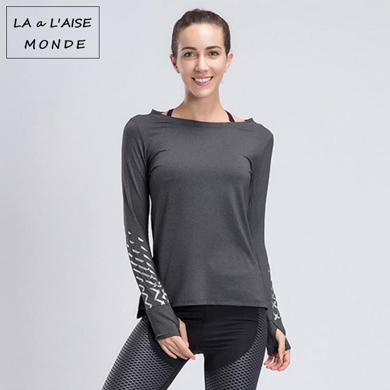 Yoga Top Activewear Sports Wear Reflective T Shirt Workout Tops For Women Long Sleeve Gym Shirts Womens Sport Fitness Sportswear