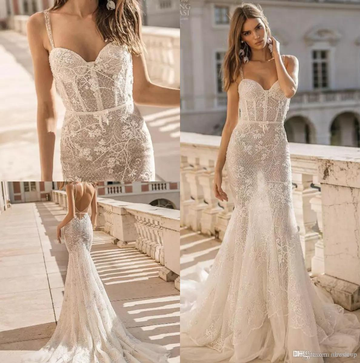 1868de52b2b Berta Privée 2019 Mermaid Wedding Dresses Spaghetti Backless Lace Bridal  Gowns See Through Boho Beach Wedding Dresses Simple Robe De Mariée One  Shoulder ...