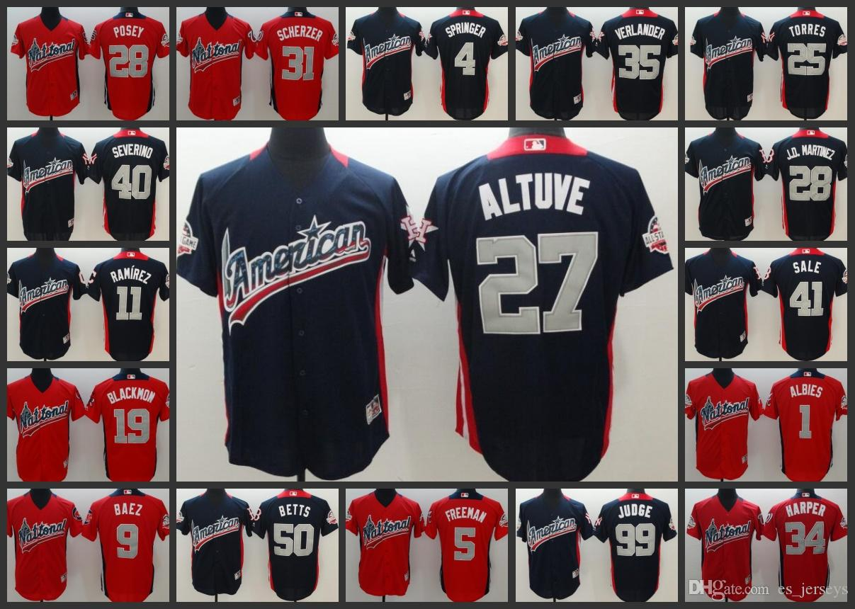 separation shoes 1bb39 7cd84 2018 All-Star baseball Jersey 27 Altuve 99 Judge 50 Betts 35 Verlander 34  Harper 27 TROUT 1 Albies 4 springer 11 Ramirez 5 Freeman 28 Posey