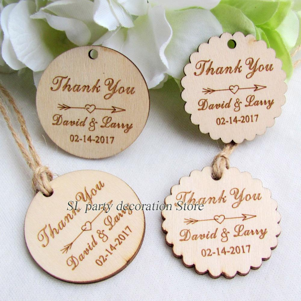 Wholesale Personalized Engraved Thank You Wedding Tags Round Circle