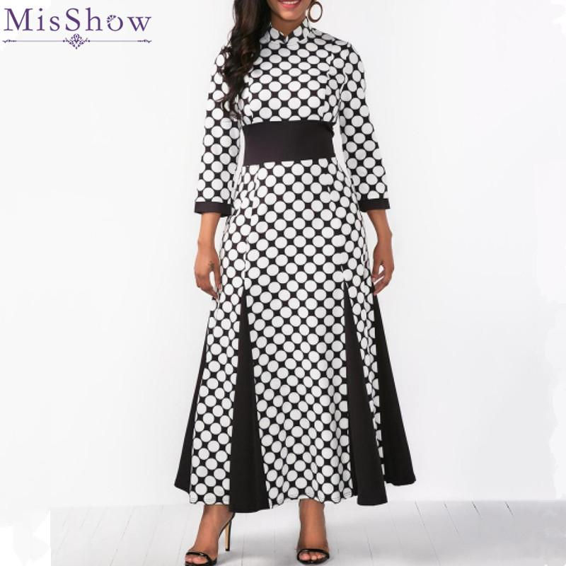Misshow Plus Size 3/4 Sleeve Polka Dots Women Dress Black White Slit Maxi  Dress for Women Robe Femme