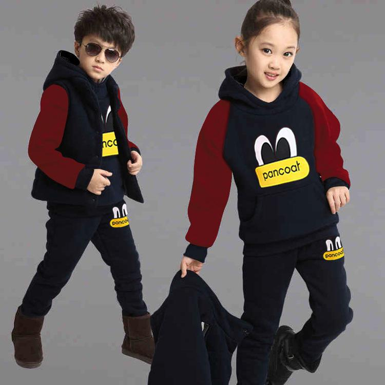 Outono Inverno Roupas Infantis Set Camisolas + Colete + Calças Casuais Conjuntos de Esportes Meninas Moletom Com Capuz Roupas para 4 6 8 10 12 ano