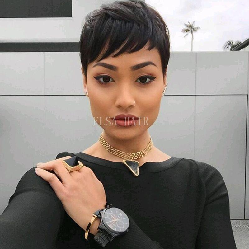 Sexy Women Short Black Pixie Cut Wigs Human Black Hair Short Bob