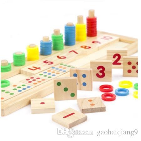 FlyingtownchildrenS Digital Matching Puzzle Preschool Toys Color Cognitive Wooden Diy Educational Boys Learning Kindergarten