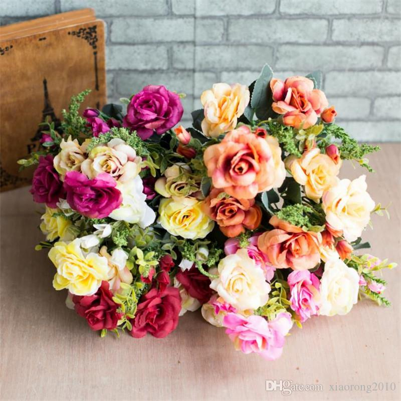 Fake European Rose (12 heads/piece) Simulation Oil Painting Roses for Wedding Home Showcase Decorative Artificial Flowers