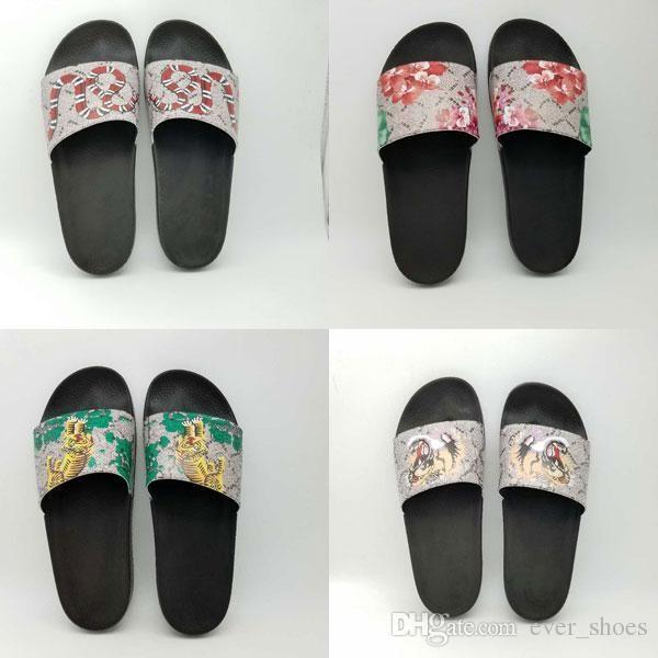 cce432732e12 2018 New Women Mens Slides Summer Luxury Designer Indoor Tiger Flowers Flat  G Shoes Brand Mens Sandals Slippers Brand Flip Flops Slipper Womens  Slippers ...