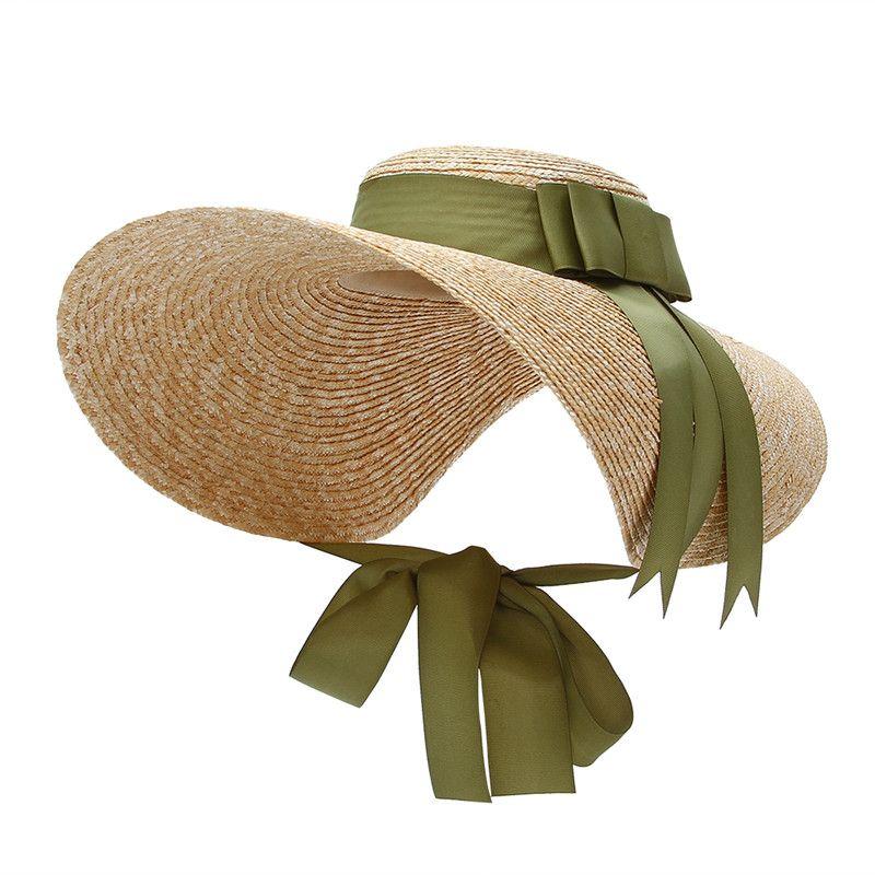 New Trendy Large Wide Brim Sun Hats For Women Ribbon Lace Up Floppy Straw  Hat EleLady Beach Cap Panama Hat Chapeau Femme Sun Hats Cheap Sun Hats New  Trendy ... 647f2ffee6ef