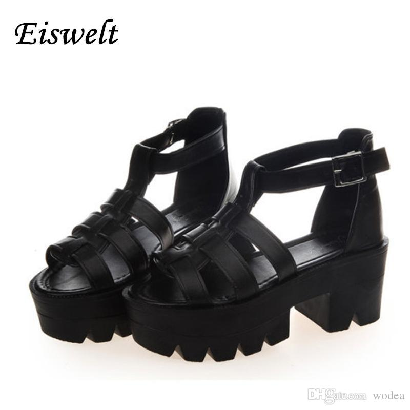 89c17cdb817 New Summer Lady Strappy Platform Block Heel Chunky Pure Buckle Leather Peep  Toe Ankle High Sandals Women Gladiator Shoes SJL88 Walking Sandals Sandals  From ...