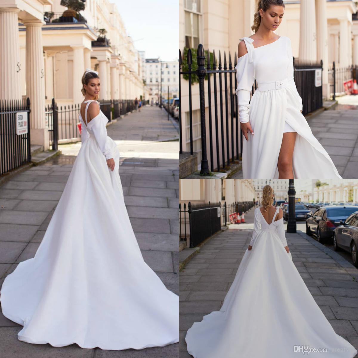 bc2b99a598ca Discount 2019 Autumn Milla Nova Wedding Dresses A Line Long Sleeve Satin  Split Backless Sash Sweep Train Plus Size Bridal Gowns Robe De Mariée  Halter ...