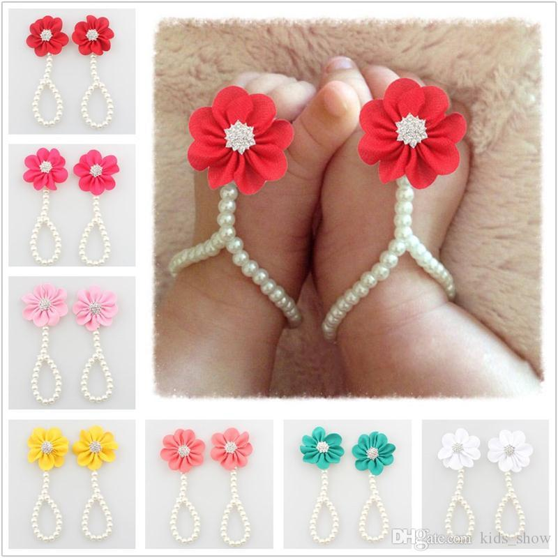 Trendy Baby Girls Flower Foot Ring Infant Pearl Chiffon Barefoot shoes Toddler Foot Bracelet Flower Beach Sandals