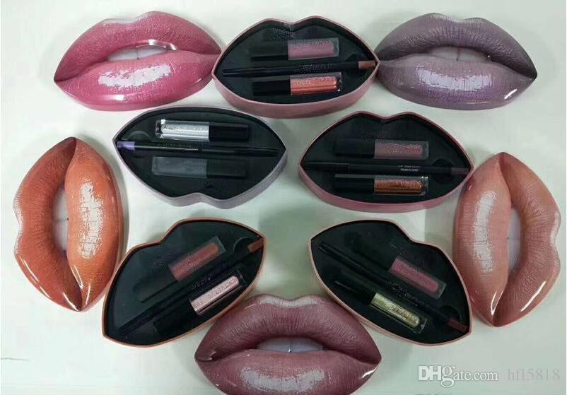 hot newest Beauty makeup Big mouth set of lip pencil +mini liquid lipstick+mini lipgloss with retail box dhl free +gift