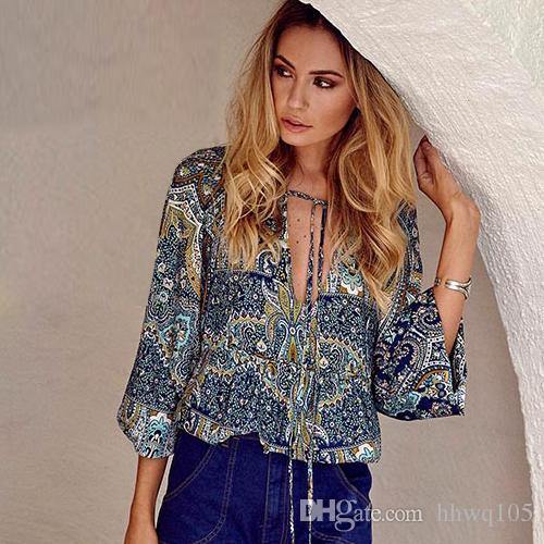 7ecbdf378ef Vintage Ladies Blouse V-Neck Long Sleeve Printed Cotton Blouse Shirt ...