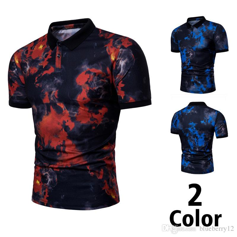Men Flame Printing Leisure Short Sleeve T shirt Fashion Printing Korean Trend T shirt Summer Daily