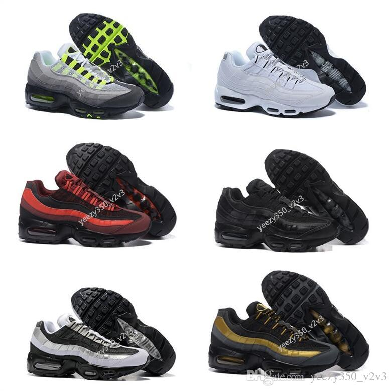 newest fcead 9fe3c Acquista Nike Air Max 95 Airmax Alta Qualità Uomo 20TH 95 Scarpe Casual Nero  Oro Rosso Bianco Cuscino D aria GREE Sport Sneakers Taglia 40 45 Spedizione  ...