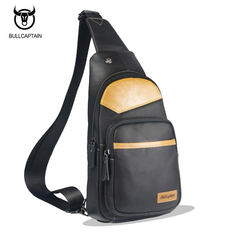 3d1d6c289968 BULLCAPTAIN 2017 MEN CHEST BAGS Fashion Genuine Leather Crossbody Bags Men  Casual Messenger Bag Small Brand Male Shoulder Bag Drawstring Bags Rolling  ...