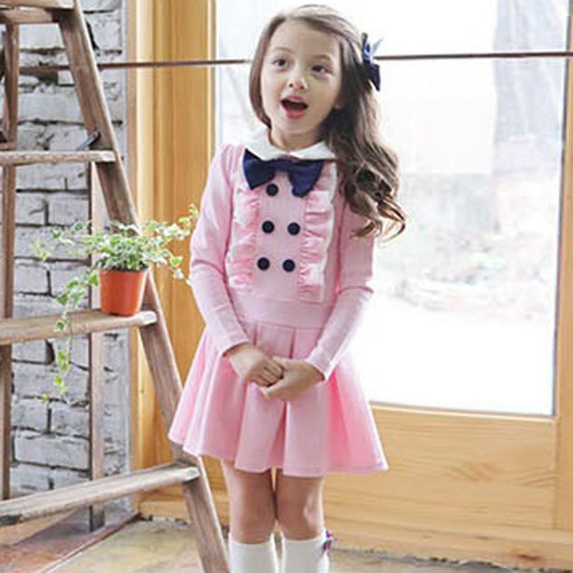 2017 зимняя детская одежда лук с длинным рукавом Принцесса девушка платье Питер Пэн воротник дизайн девушки одежда
